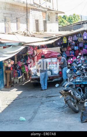 Street market in Chiquimulilla Guatemala - Stock Photo