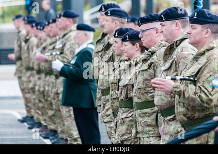 Carrickfergus, Northern Ireland. 23rd May, 2015. Soldiers on parade to celebrate the formation of the newest regiment - Stock Photo