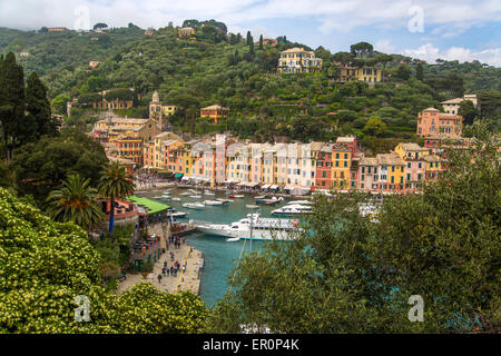 View at port in Portofino, Italy. - Stock Photo