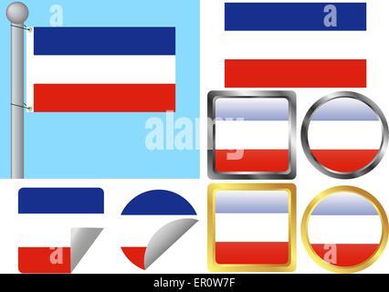 Flag Set Serbia and Montenegro - Stock Photo