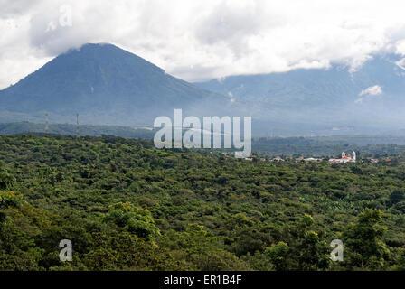 Spanish colonial town of Juayua, coffee plantations, and Acatepec Volcano in western el Salvador, Central America - Stock Photo