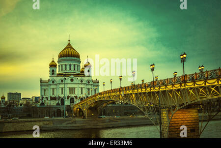 Retro style image of The Cathedral of Christ the Saviour in Moscow, Russia - Stock Photo