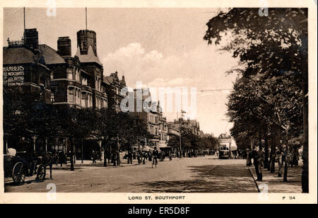 Lord Street, Southport, Merseyside, Lancashire, England.  1910s - Stock Photo