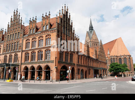 Old City Hall and parish church, Hannover, Lower Saxony, Germany - Stock Photo