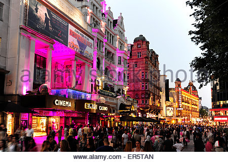 Empire Cinema, nightlife at Leicester Square, Soho quarter, West End, London, England, Great Britain, United Kingdom - Stock Photo