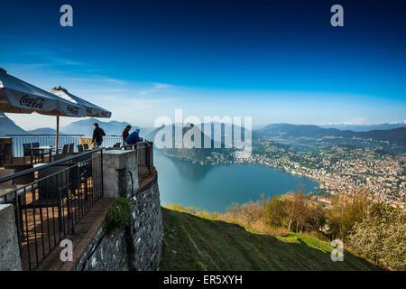 Panoramic view, Monte Bre, Lugano, Lake Lugano, canton of Ticino, Switzerland - Stock Photo
