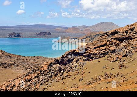 Lava landscape, Bartolome Island, Santiago Island, also San Salvador Island, behind, Galapagos Province, Galapagos - Stock Photo