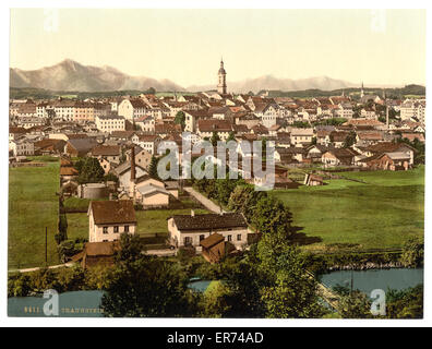 Traunstein, general view, Upper Bavaria, Germany. Date between ca. 1890 and ca. 1900. - Stock Photo