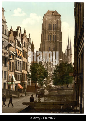 Jopengasse, Danzig, West Prussia, Germany (i.e., Gdansk, Poland). Date between ca. 1890 and ca. 1900. - Stock Photo