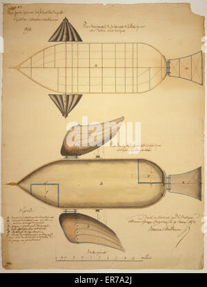 Plateforme aerienne cerf-volant libre dirigeable, systeme Vaussin-Chardanne. Feiulle no. 1. Scaled design drawing - Stock Photo