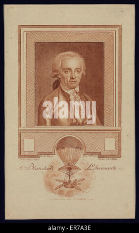 Portrait of French balloonist Jean-Pierre Blanchard. Includes image of Blanchard's balloon demonstrating his experiments - Stock Photo