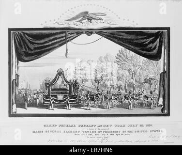 Grand funeral pageant at New York July 23, 1850, in honor of the memory of Major General Zachary Taylor 12th president - Stock Photo