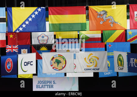 The flags of other FIFA member nations (top), and flag (L-R) of the UEFA (Union of European Football Associations), - Stock Photo