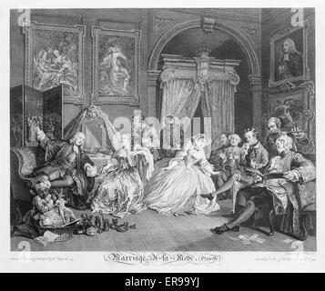 Marriage e la mode--the toilette scene. Several persons engaged in conversation in a lady's boudoir. Date 1745. - Stock Photo