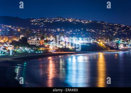 View of Laguna Beach at night, from Heisler Park in Laguna Beach, California. - Stock Photo