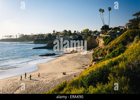 View of a beach and the Pacific Ocean from cliffs at Heisler Park, in Laguna Beach, California. - Stock Photo