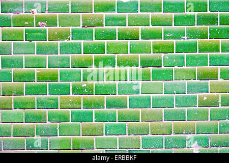 A background from a green tiled wall - Stock Photo