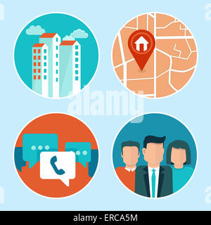 Office address and phone icons in flat style - building, map, contacts - Stock Photo