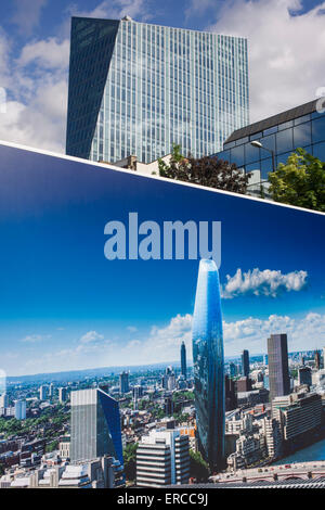 Cityscape image on a large construction hoarding that shows 1, Blackfriars, a property development marketing suite - Stock Photo