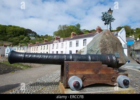 A canon in Lower Fishguard, Pembrokeshire Wales - Stock Photo