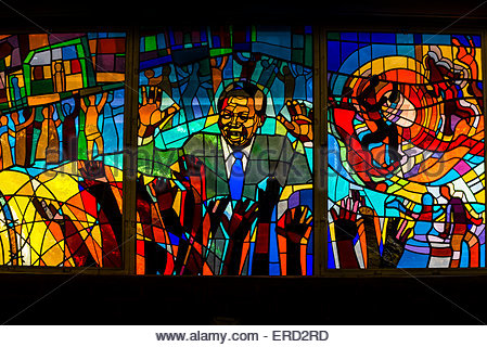 Nelson Mandela stained glass window at Regina Mundi Church, Soweto, Johannesburg, South Africa. - Stock Photo