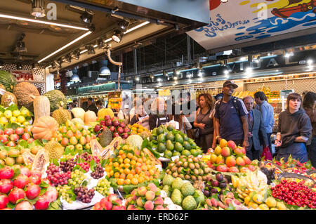 Fruits and vegetables for sale at La Boqueria market, Barcelona, Spain - Stock Photo