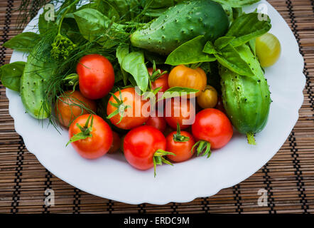 Fresh vegetables and herbs picked from garden in bowl, close up - Stock Photo