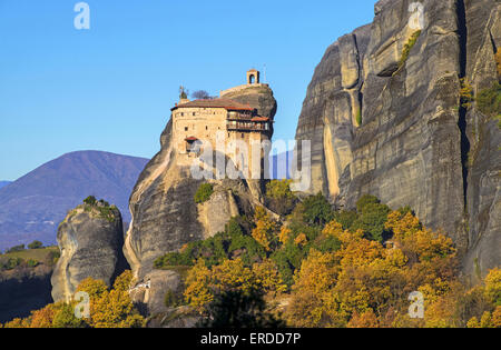 Saint Nicholas  Anapafsas monastery is situated just 1km far from Kastraki village, next to Kalampaka town in Thessaly, - Stock Photo