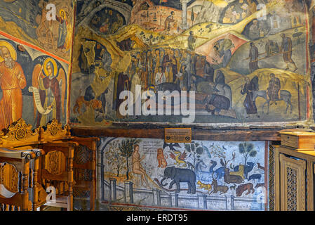 Impressive frescos by Theofanous painter of holy icons dated from 1527 in Saint Nicholas  Anapafsas monastery, Meteora, - Stock Photo