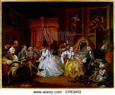 Marriage A-la-Mode: 4, The Toilette by William Hogarth. Circa 1743, oil painting, 70.5 x 90.8 cm.  Paintings after - Stock Photo