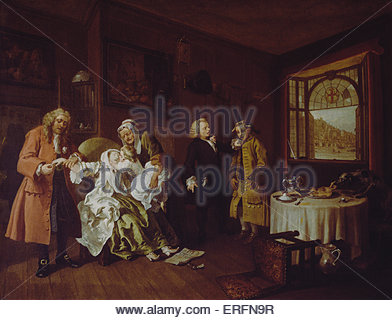 Marriage A-la-Mode: 6. The Lady's Death by William Hogarth, c.1743 Painting. English artist, 10 November 1697 - - Stock Photo