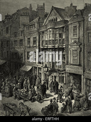 Victorian London - Bishopsgate street. East of London. Jewish quarter. Engraving by Gustave Doré, from 'London, - Stock Photo