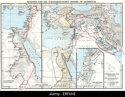 Map of Egypt and Near Eastern Kingdom in Ancient Times.  (Asia Minor / West Asia).  Close up map of Egypt and Palestine - Stock Photo