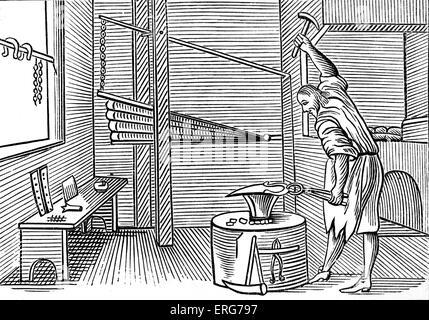 Blacksmith, taken from a 1659 English edition of John Amos Comenius' 'Orbis sensualium pictus', probably the most - Stock Photo