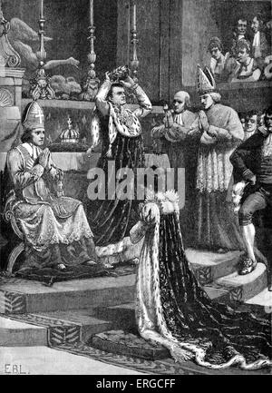 Coronation of French emperor Napoleon I in Notre Dame, Paris. 2 December 1804 with Pope Pius VII and empress Josephine. - Stock Photo