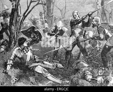 Battle of Barnet : death of Richard Neville 16th earl of Warwick. From 19th century engraving. Caption: 'Battle - Stock Photo