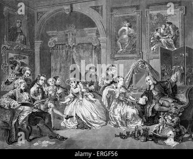 Marriage a la Mode by William Hogarth. Plate IV - The boudoir of the countess. WH: English artist - 1697 -1764. - Stock Photo