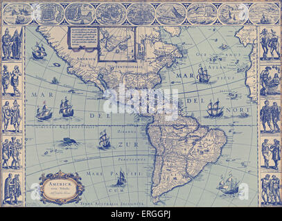Map of North and South America  - published in W.J Blaeu and J. Blaeu 's 'Nieuwe Atlas', 1642-3.  (Full title: 'Tooneel - Stock Photo