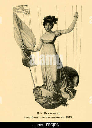 Sophie Blanchard riding in a hot air baloon basket. Killed during an ascention in 1819. Artist unknown. French aeronaut - Stock Photo