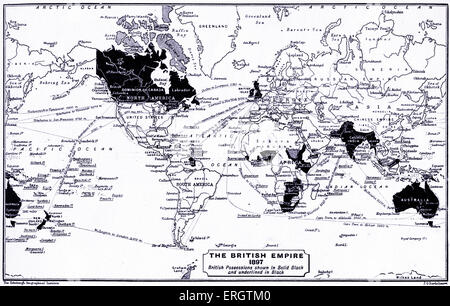 The British Empire in 1897. Map of the world with British possessions shown in black and underlined in black. - Stock Photo