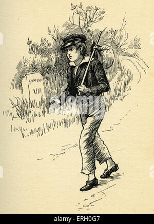 Oliver Twist by Charles Dickens. Caption reads: This poor, friendless boy trudged off to London. Originally published - Stock Photo