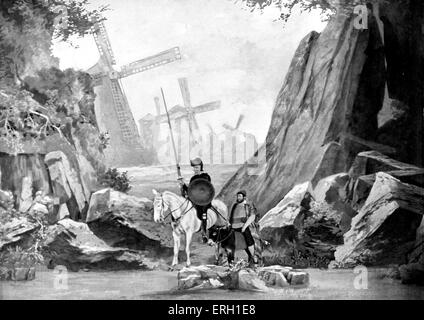 Don Quixote / Quichotte and Sanhco Panza with the windmill in the background. Don Quichotte by Jean   Richepin at - Stock Photo
