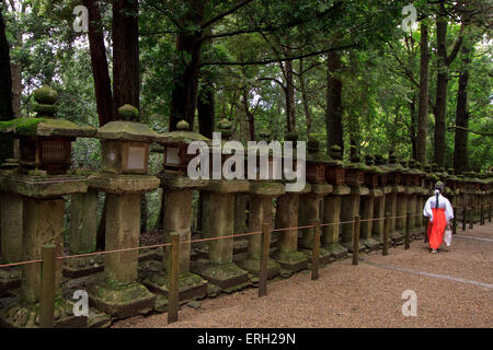 A female shrine attendant walks past a long row of decorative stone lanterns at Kasuga Taisha Shrine in Nara, Japan. - Stock Photo