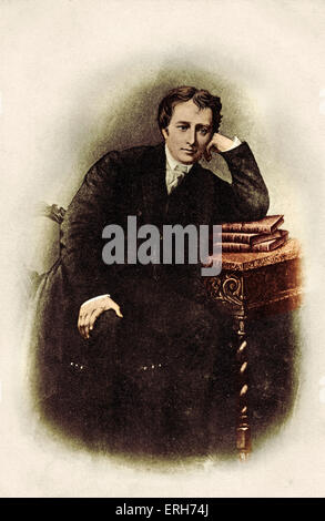 Percy Bysshe Shelley leaning on desk. English Poet (1792-1822). Wrote Betrice Cenci (used by Goldschmidt in his - Stock Photo