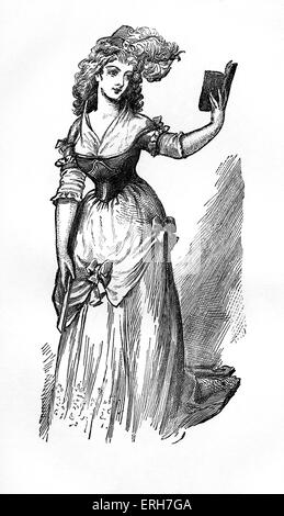 Frances Abington, English actor, in 'The Way to Keep Him' from a 1792 engraving. - Stock Photo