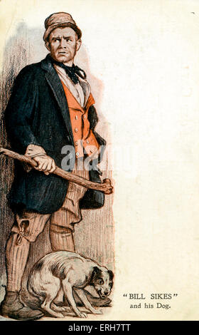 Oliver Twist by Charles Dickens.Bill Sikes and hig dog (advertisement for performance at His Majesty's Theatre, - Stock Photo