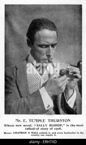 Ernest Temple Thurston - advert for novel 'Sally Bishop', 1908. Caption reads: 'Mr. E. Temple Thurston/ Whose new - Stock Photo