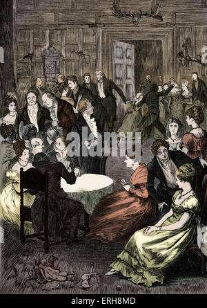 Old Christmas by Washington Irving. Christmas Eve gathering. Caption: 'The company, which was assembled in a large - Stock Photo