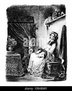 Goethe 's Faust, 1828.  Marguerite / Gretchen at the spinning wheel Lithograph by Eugene Delacroix.  German poet, - Stock Photo