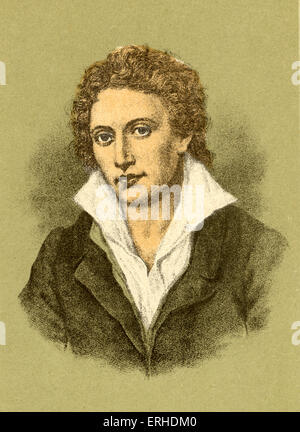 Percy Bysshe Shelley - portrait of the English poet. 4 August 1792 - 8 July 1822.  Byron connection.  Mary Shelley - Stock Photo